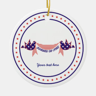 Fourth 4th of July Doves with stars ornament