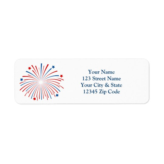 Fourth 4th of July fireworks return address labels