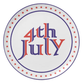 Fourth 4th of July red blue text design Dinner Plates