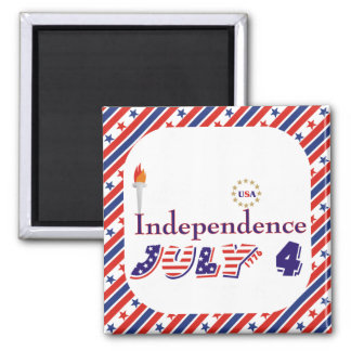 Fourth 4th Of July stars torch USA Independence Square Magnet