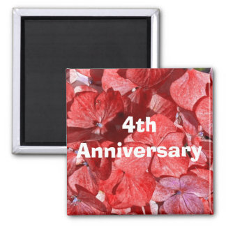 Fourth Anniversary Magnet with Hydrangas