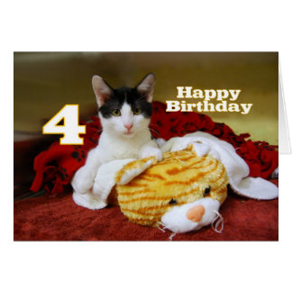 Fourth Birthday Kitten with Toy Tiger Greeting Card