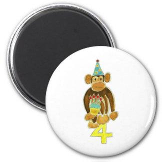 Fourth Birthday Monkey 6 Cm Round Magnet