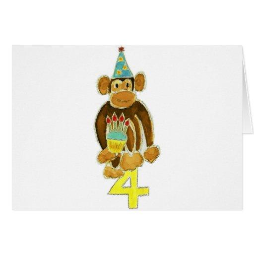 Fourth Birthday Monkey Greeting Cards