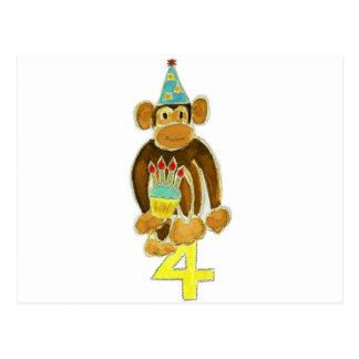 Fourth Birthday Monkey Postcard