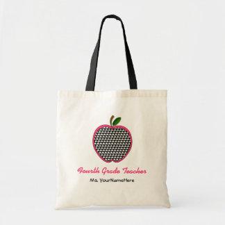 Fourth Grade Teacher Bag- Houndstooth Pink Apple
