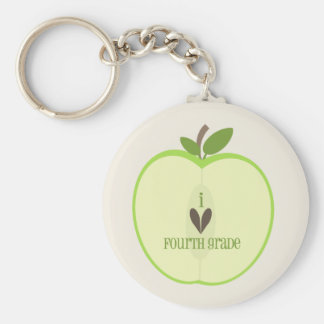 Fourth Grade Teacher Keychain - Green Apple Half