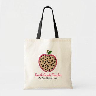 Fourth Grade Teacher Leopard Print Pink Apple Bags