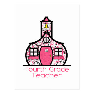 Fourth Grade Teacher Paint Splatter Schoolhouse Postcard
