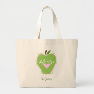 Fourth Grade Teacher Pink and Green Apple Bags