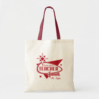 Fourth Grade Teacher Retro Red 60 s Inspired Sign Tote Bags