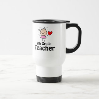 Fourth Grade Teacher Stick Figure Stainless Steel Travel Mug