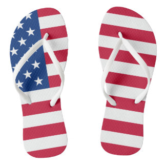 Fourth of July Adult, Slim Straps Flip Flops