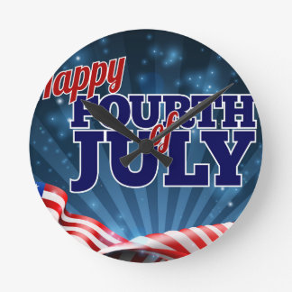 Fourth of July American Flag Background Clocks