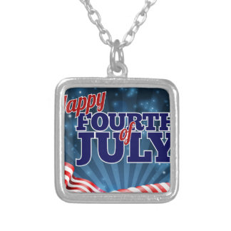 Fourth of July American Flag Background Silver Plated Necklace