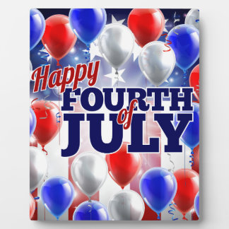 Fourth of July American Flag Balloons Background Photo Plaques