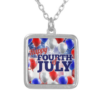 Fourth of July American Flag Balloons Background Silver Plated Necklace