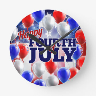 Fourth of July American Flag Balloons Background Wallclock
