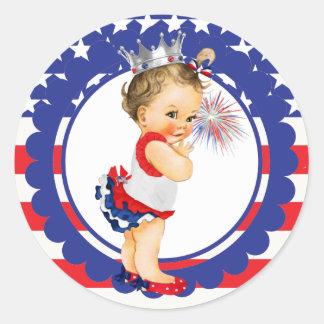 Fourth of July Baby Shower Sticker