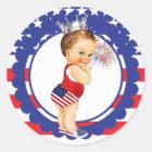 Fourth of July Baby Shower Sticker Vintage Baby