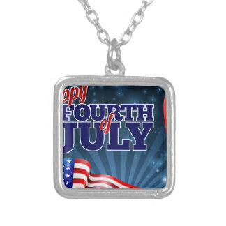 Fourth of July Background American Flag Design Silver Plated Necklace