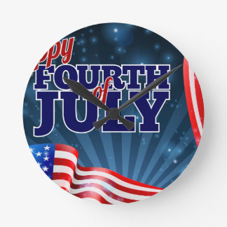 Fourth of July Background American Flag Design Wall Clock