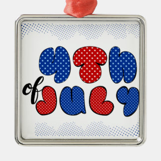Fourth of July bold lettering Silver-Colored Square Decoration