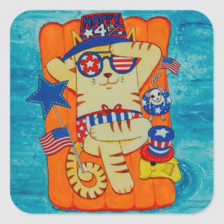 Fourth of July Cat in Hat with Mouse and Fish Square Sticker