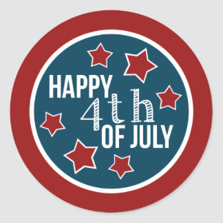 Fourth of July Cupcake Circles Round Stickers