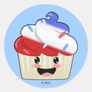 Fourth of July Cupcake Round Sticker