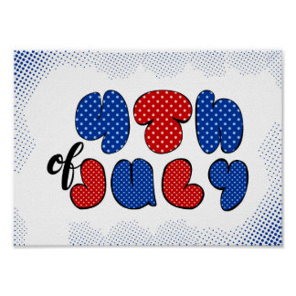 Fourth of July doodle sign Poster