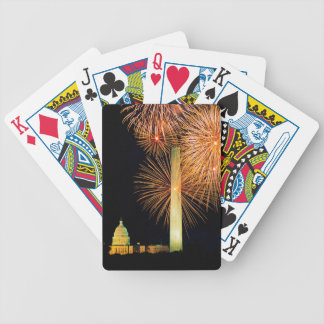 Fourth of July, Firework Display, Skyline Bicycle Playing Cards