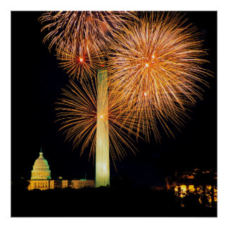 Fourth of July, Firework Display, Skyline Posters