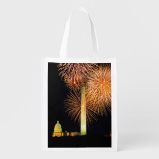 Fourth of July, Firework Display, Skyline Reusable Grocery Bag