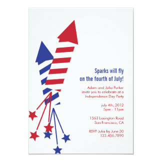 Fourth of July Firework Rockets BBQ Invitation