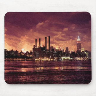 Fourth of July Fireworks behind Manhattan Mouse Mat