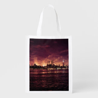 Fourth of July Fireworks behind Manhattan Reusable Grocery Bag