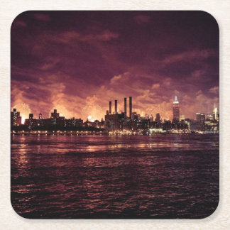 Fourth of July Fireworks behind Manhattan Square Paper Coaster
