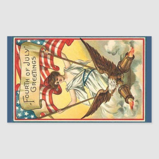 Fourth of July Greetings Rectangular Sticker
