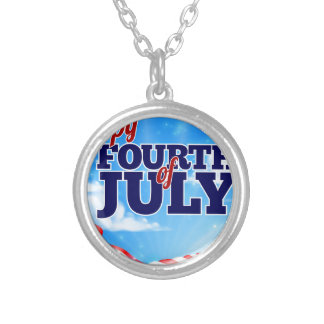 Fourth of July Independence Day Background Silver Plated Necklace