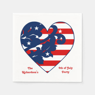 Fourth of July Independence Day patriotic heart Disposable Serviette