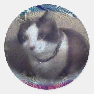 fourth of july kitty round sticker