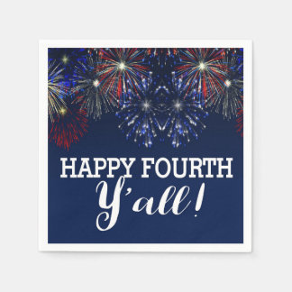 Fourth of July Party Summer Y'all Fireworks Paper Serviettes