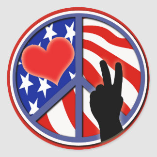 Fourth Of July Peace Love USA Round Sticker