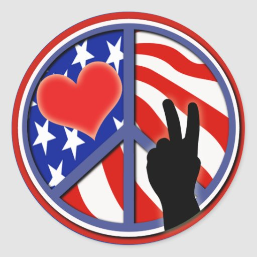 Fourth Of July Peace Love USA Round Stickers