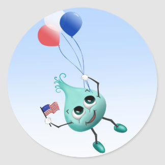 Fourth of July Peep with Balloons Round Sticker