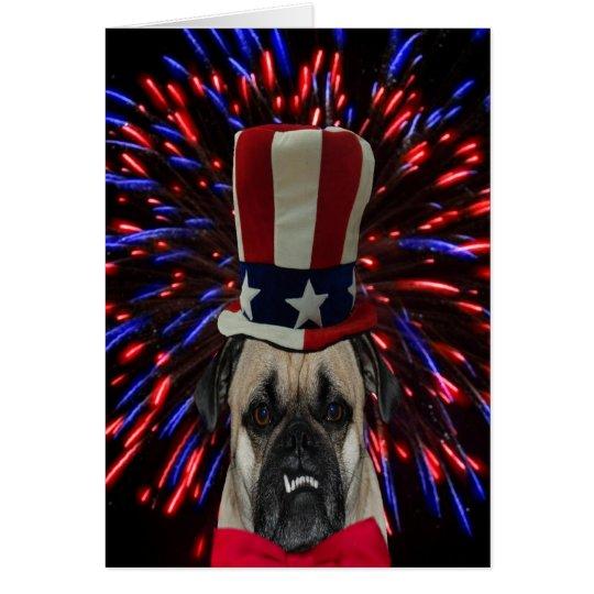Fourth of July Pug and Fireworks Card
