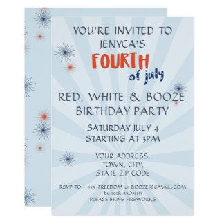 Fourth of July Red White & Booze Birthday Invite