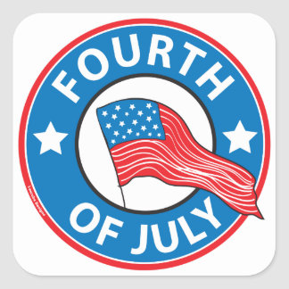 Fourth of July Square Sticker