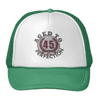 Fourty Five and aged to Perfection Birthday Mesh Hats